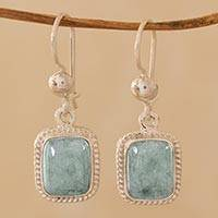Jade dangle earrings, 'Life Divine' - Guatemalan Green Jade Artisan Crafted Earrings