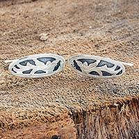 Sterling silver cufflinks, 'Flying Quetzal' - Guatemalan Handmade Sterling Silver Quetzal Cufflinks