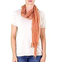 Cotton scarf, 'Mahogany Whisper' - Brown Cotton Gauze Scarf Dyed with Mahogany Wood
