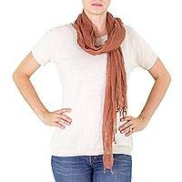 Cotton scarf, 'Mahogany Moods' - Guatemalan Cotton Gauze Scarf Dyed with Mahogany Wood
