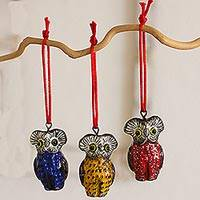 Ceramic ornaments, 'Owls of Tikal' (set of 6) - Handcrafted Ceramic Bird Ornaments (Set of 6 Owls)