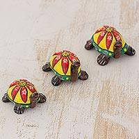 Ceramic sculptures, 'Flower Turtles' (set of 3) - Ceramic Sculptures of Turtles (Set of 3) from Guatemala