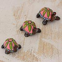 Ceramic sculptures, 'Flower Turtles in Pink' - Pink Ceramic Sculptures Turtles (Set of 3) from Guatemala