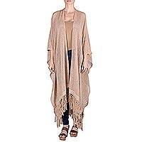 Natural cotton ruana cloak, 'Rabinal Sepia' - Natural Brown and Ivory Cotton Handwoven Long Ruana Cape