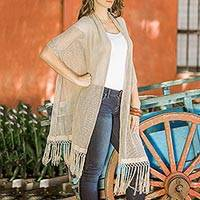 Natural cotton shawl, 'Rabinal Taupe' - Handwoven Guatemalan Light Taupe Natural Cotton Shawl