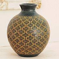 Ceramic decorative vase, 'Earthen Geometry' - Hand Crafted Terracotta Decorative Vase from Nicaragua