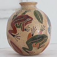 Ceramic decorative vase, 'Jumping Frogs' - Artisan Crafted Decorative Ceramic Vase with Frog Motif