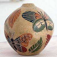 Ceramic decorative vase, 'Butterfly Joy' - Artisan Crafted Decorative Ceramic Vase from Nicaragua