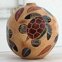 Ceramic decorative vase, 'Joyful Turtles' - Decorative Ceramic Vase with Turtle and Leaf Motif