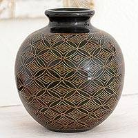 Ceramic decorative vase, 'Nicaraguan Night Sky' - Artisan Crafted Ceramic Decorative Vase with Geometric Motif