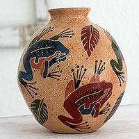 Ceramic decorative vase, 'Joyful Frogs' - Decorative Ceramic Vase with Frog Motif from Nicaragua