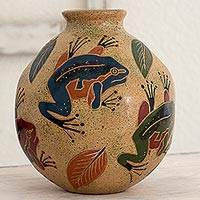 Ceramic decorative vase, 'Rainforest Fauna' - Decorative Ceramic Vase with Frog Motif from Nicaragua