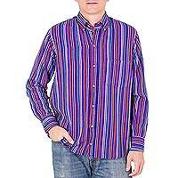 Men's cotton shirt, 'Colorful Guatemala' - Men's Striped Handwoven Guatemalan Cotton Long Sleeve Shirt