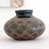 Ceramic decorative vase, 'Earthen Fans' - Handcrafted Nicaraguan Ceramic Decorative Vase