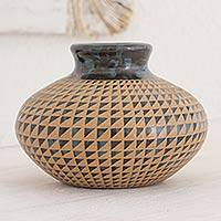 Ceramic decorative vase, 'Triangles in Symmetry' - Blue and Black Geometric Decorative Terracotta Vase