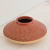 Ceramic decorative vase, 'Waves in Red' - Red and Tan Decorative Wave Theme Terracotta Vase