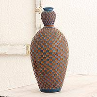 Terracotta decorative vase, 'Ocean Earth' - Low Relief Blue Tile Effect on Decorative Terracotta Vase