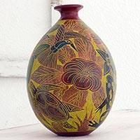 Ceramic decorative vase, 'Central American Eden' - Handcrafted Ceramic Decorative Vase with Animals and Flowers