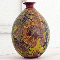 Ceramic decorative vase, 'Central American Eden' - Handcrafted Ceramic Decorative Vase with Animals and Flowers