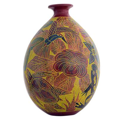 Handcrafted Ceramic Decorative Vase With Animals And Flowers