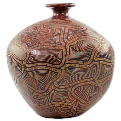 Ceramic decorative vase, 'Thoughts of Happiness' - Handcrafted Signed Decorative Ceramic Vase from Nicaragua