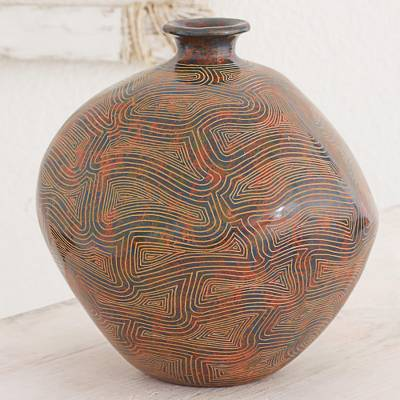 Ceramic decorative vase, 'Thoughts of Peace' - Signed Decorative Terracotta Vase Crafted in Nicaragua