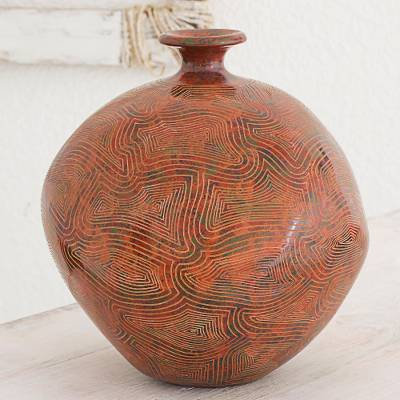 Ceramic decorative vase, 'Thoughts of Harmony and Love' - Asymmetrical Artisan Crafted Decorative Ceramic Vase