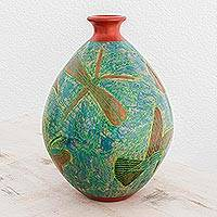 Ceramic decorative vase, 'Nicaraguan Nature' - Colorful Decorative Ceramic Vase with Birds and Flowers