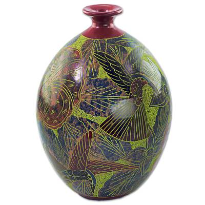 Ceramic decorative vase, 'Nicaraguan Forest' - Decorative Terracotta Vase with Colorful Birds and Flowers