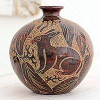 Ceramic decorative vase, 'Nicaraguan Forest Creatures' - Terracotta Animal Theme Decorative Vase