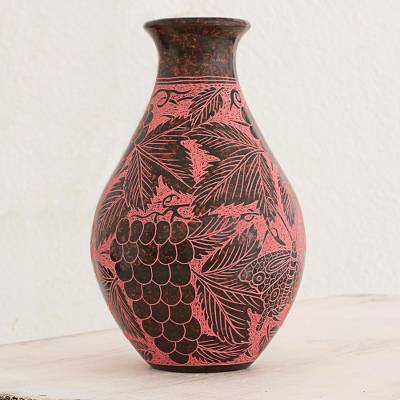 Ceramic decorative vase, 'Natural Happiness' - Hand Made Decorative Vase with Butterfly Motifs