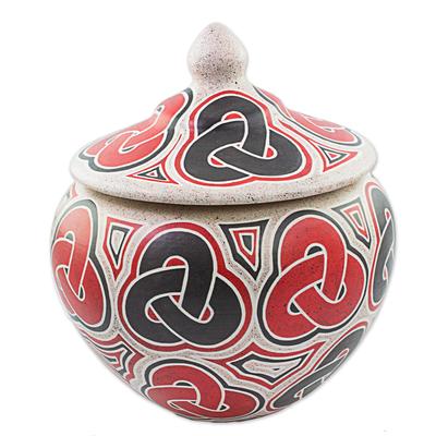 Hand Made Ceramic Jar with Lid Infinity Motif Nicaragua