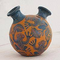 Ceramic decorative vase, 'Nicaraguan Tree Frogs' - Hand Made Ceramic Vase Tree Frog Motif from Nicaragua