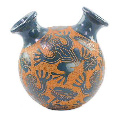 Hand Made Ceramic Vase Tree Frog Motif From Nicaragua Nicaraguan