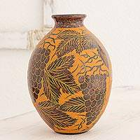 Ceramic decorative vase, 'Orange Vineyard' - Hand Made Ceramic Vase with Grape Designs from Nicaragua