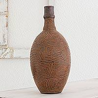 Ceramic decorative vase, 'Classic Geometry' - Handcrafted Decorative Ceramic Vase in Natural Terracotta