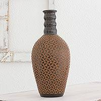 Ceramic decorative vase, 'Brown Sugar and Pepper' - Handcrafted Decorative Vase in Natural Terracotta