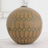 Ceramic decorative vase, 'Lights in the Forest' - Green and Brown Decorative Nicaraguan Terracotta Vase