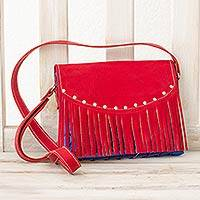 Upcycled metalized wrapper and leather accent shoulder bag, 'Eco Party' - Red Upcycled Wrapper Shoulder Bag with Leather Accent