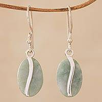 Jade dangle earrings, 'Apple Green Coffee Bean' - Contemporary Silver Earrings with Pale Green Jade