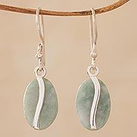 Jade dangle earrings, 'Apple Green Coffee Bean'