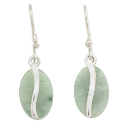 Jade dangle earrings, 'Apple Green Coffee Bean' - Contemporary Silver Earrings with Pale Green Jade