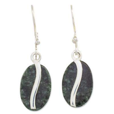 Jade dangle earrings, 'Dark Green Coffee Bean' - Dark Green Jade and Sterling Silver Contemporary Earrings
