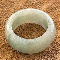 Jade band ring, 'Pale Green Halo' (10 mm) - Artisan Crafted 10 mm Wide Band Ring of Guatemalan Jade