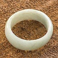 Jade band ring, 'Pale Green Halo' (8 mm) - 8 mm Wide Artisan Crafted Band Ring of Guatemalan Jade