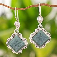 Jade dangle earrings, 'Light Green Floral Diamond' - Silver Diamond Shaped Floral Jade Earrings in Light Green