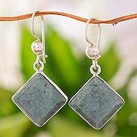 Jade dangle earrings, 'Light Green Lake' - Diamond Shaped Light Green Jade Earrings in Sterling Silver