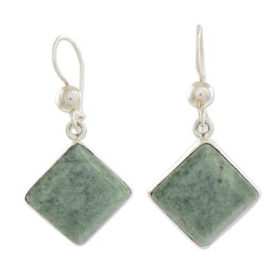 Diamond Shaped Light Green Jade Earrings in Sterling Silver