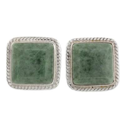 Artisan Crafted Jade and Sterling Silver Button Earrings