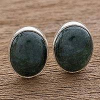 Jade stud earrings, 'Dark Voluptuous Green' - Modern Maya Jade Post Earrings with Sterling Silver